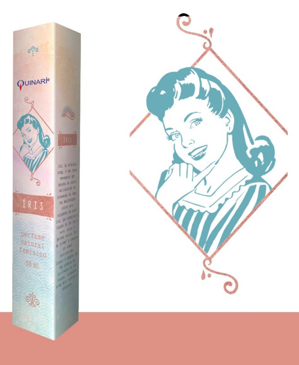 ÍRIS: perfume feminino vegano 100% natural da QUINARÍ com notas multicoloridas, florais e alegres.